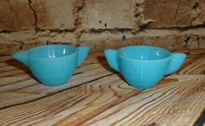 Vintage AKRO AGATE Stacked Disc Style Child Size 2 PCS Blue Sugar Bowl Creamer