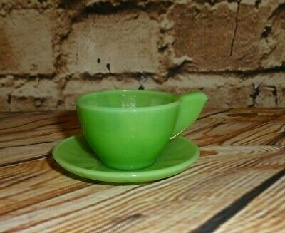 Vintage AKRO AGATE Inside Panel Style Child Size 2 Piece Green Cup & Saucer