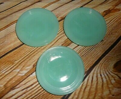 Vintage AKRO AGATE Stacked Disc Style Child Size 3 PCS Aqua Saucers Plates