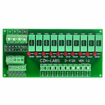 Panel Mount 10 Position Power Distribution Fuse Module Board, For AC230V.