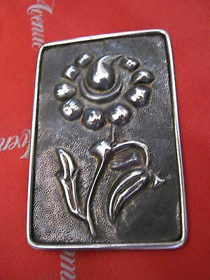"Antique ""SOLID SILVER"" Arts & Crafts EMBOSSED FLOWER BROOCH C Clasp 1.5"" X 2.25"""