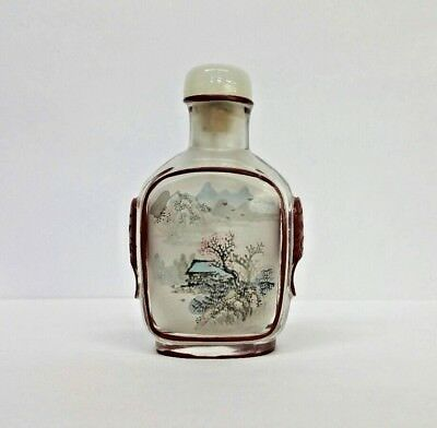 Snuff Bottle Reverse Glass With Cinnabar Lacquer White Jade Lid