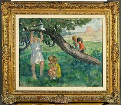 Gustave Pierre Oil on Canvas Painting Antique French (1875-1939) Signed Framed