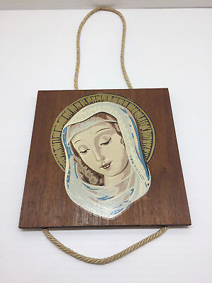 """Real Nice Antique Vintage 6"""" Virgin Mary Wood Wooden Wall Mount Plaque"""