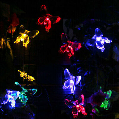 20/30/50 LED Solar Powered Butterfly String Light Outdoor Garden Party Xmas Lamp