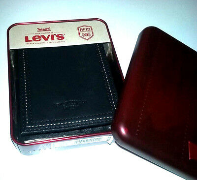 Genuine Levi's Black Premium Leather Bifold Wallet With RFID Protection +Tin Box