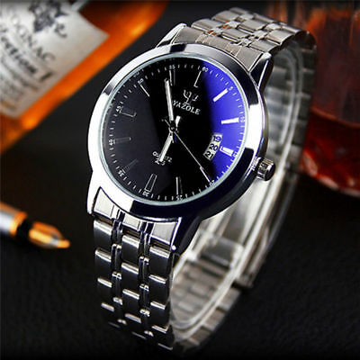 Fashion Men's Date Stainless Luxury Steel Sport Analog Quartz Wrist Watch