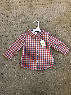 NWT Gymboree Baby Boy Orange & Blue Plaid Button Down Shirt - Size 12-18 Months