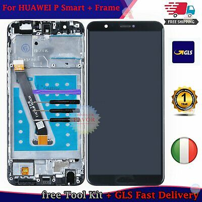 Per HUAWEI P SMART FIG-LX1 LX2 LX3 TOUCH Schermo VETRO + LCD DISPLAY FRAME NERO
