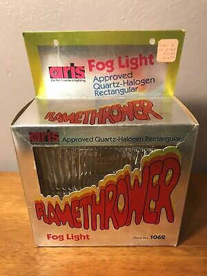 Vintage Aris Flamethrower Quartz-Halogen Rectangular Fog Light 1062 Chrome New