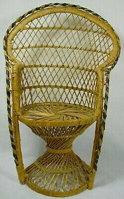 Doll Bear Small Plant Stand Peacock Chair Wicker Rattan Boho High Back 16 Inches