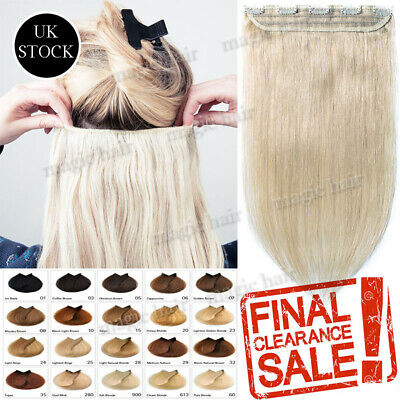 CLEARANCE One Piece 100% Clip in Remy Human Hair Extension Half Full Head A674