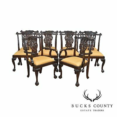 Chippendale Set of 10 Heavily Carved Solid Mahogany Ball & Claw Dining Chairs