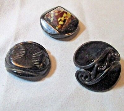 3 Vintage Large Black Stunning Plastic Buttons Carved Molded & Marble Round Oval