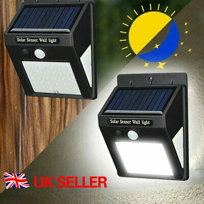 20LED Solar Powered PIR Motion Sensor Wall Security Light Garden Outdoor Lamp UK