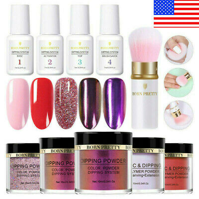 10Pcs BORN PRETTY Dipping Powder Nail Dip System Liquid Brush Pro Starter Kit