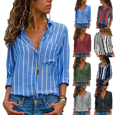 Womens V Neck Stripe Long Sleeve Loose Shirt Ladies Front Button Blouses Tops UK