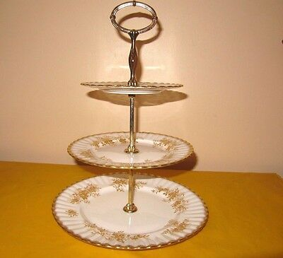 VINTAGE ROYAL ALBERT ANTOINETTE GOLD 3-tier CAKE STAND/PLATE, used in VGC