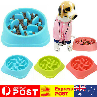 AU Dog Cat Slow Down Eating Feeder Dish Pet Feeding Food Dish Bowl Dispenser Fun