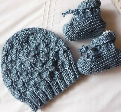 Beanie & Booties Set.  Medium Blue. Hand-knitted by me. Soft. Boy/Girl Baby