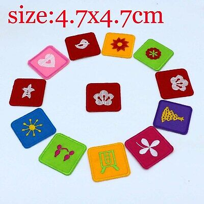 12Pcs Embroidery Square Cartoon Sew On Patch Badge Embroidered Fabric Applique