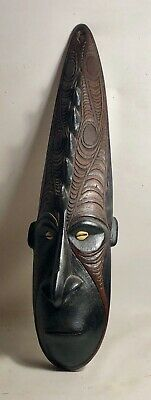 OLD 1940's PAPUA NEW GUINEA LARGE TRIBAL WOODEN MASK WITH COWRIE SHELL ADORNMENT