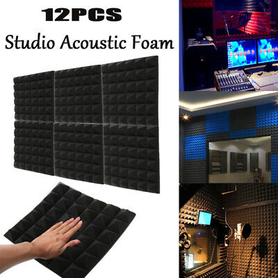 12 Pyramid Acoustic Foam Studio Sound absorption Tile Treatment Soundproof Panel
