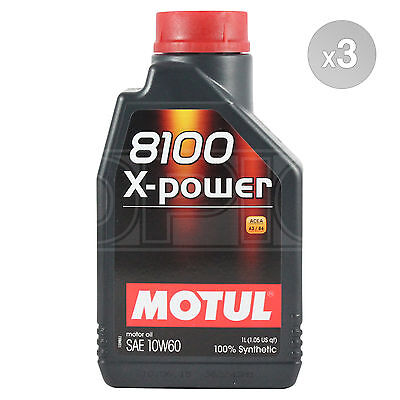 Motul 8100 X-Power 10w-60 High Performance Engine Oil 10w60 - 3 x 1 Litre 3L