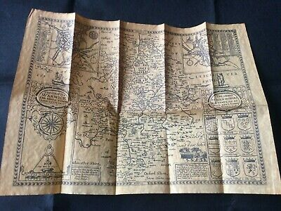 Old John Speede Map of WARWICKSHIRE 1610 - an Antiqued Parchment Replica