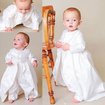 12abd4ca6 Baby Boy Christening Outfit White Ivory Baptism Infant Toddler Gown 0-24  Months