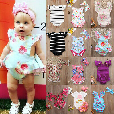 AU Baby Boy Girl Newborn Romper Jumpsuit Bodysuit Playsuit Clothes Outfit 0-24M