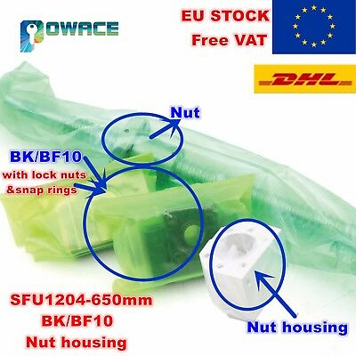 【In EU】SFU1204 L650mm Ballscrew End Standard with Ballnut+BK/BF10+Nut housing