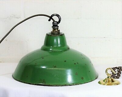 Vintage Small 50s British Industrial Green Enamel Metal Ceiling Light Lampshade