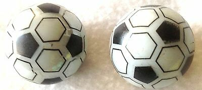 """Glass Marbles Game Shooters 1"""" inch - 2 pcs Handmade Glass soccer ball blk & wht"""