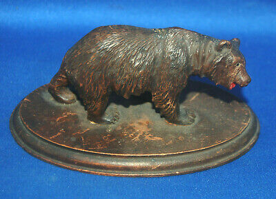 An unusual Victorian prowling bear figure, carved wooden, Black Forest or Swiss