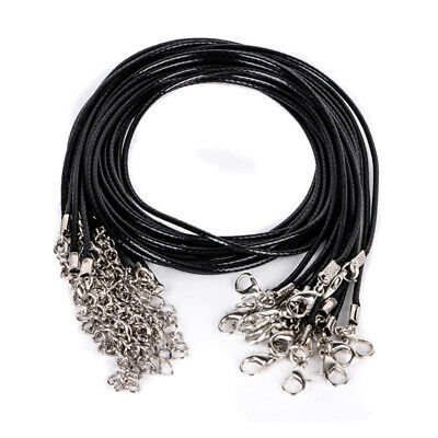 10pcs Wholesale Black PU Leather String Chain Cord for DIY Necklace With Clasp18