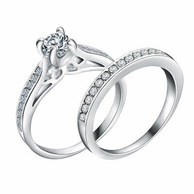 2Pcs Womens Silver Plated Engagement Wedding Ring Sets Jewelry Gift 5 Sizes New