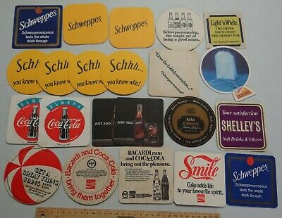 18 x MIXED COLLECTABLESOFTDRINK BEER COASTERS / MATS BB3