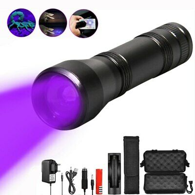 80000Lm LED UV Flashlight UV Light Torch 5Mode Zoomable 395nm Blacklight 18650