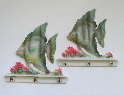 Vintage Kitsch SUN FISH & CORAL Kitchen Towel Hanger set of 2 1960's
