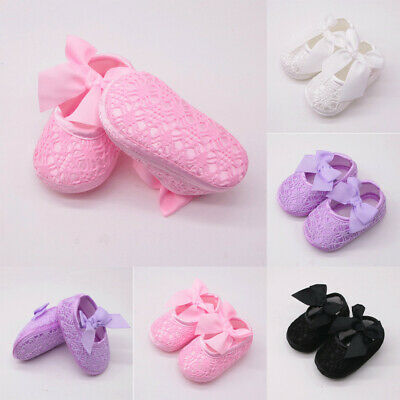 Newborn Infants Girls Soft Shoes Soft Soled Non-slip Bowknot Footwear Crib Shoes