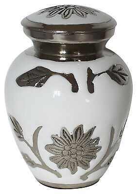 Small Cremation Urn For Ashes, Funeral Memorial Remembrance Mini Keepsake White
