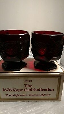 Vintage Avon 1876 Cape Cod Collection Of TWO Footed Glass Set Ruby Red