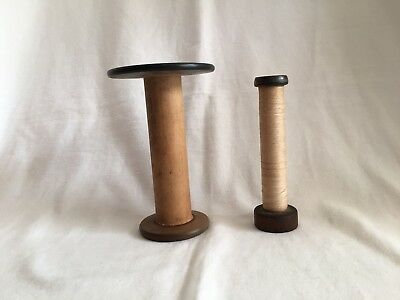 Textile Bobbins Large Wooden Spools Industrial RI Laceworks Co Lot of 2 Vintage