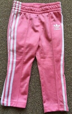 Girls Pink Adidas Jogging Bottoms Age 12-18 Months Zip Up Bottoms Casual B77