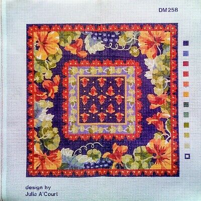 Julia A'court Design Flowers Grapes Nasturtiums Square Needlepoint Canvas Only