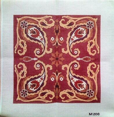 Unusual Leaf Design Red Brown Needlepoint Tapestry Cushion Square Canvas Only