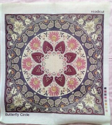 Readicut Butterfly Circle Needlepoint Tapestry Brown Greens Cushion Canvas Only