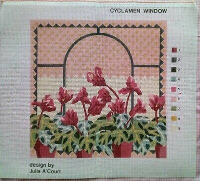 Julia A'court Cyclamen Window Pots Pink Red Tapestry Needlepoint Canvas Only