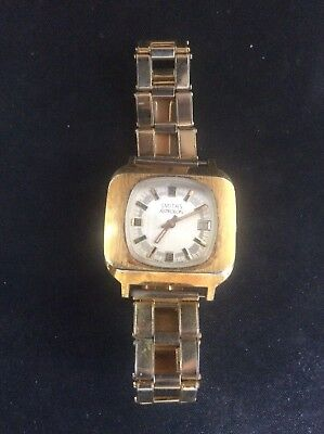 Vintage 1970s Smiths ASTROLON Mens watch Original Strap Swiss Made Retro 70s
